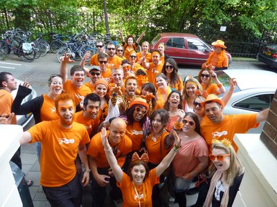 Queen's Day!!! The group before we headed out for a day of mayhem