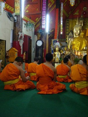 The Monks inside the temple chanting