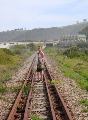 Nicola on the train tracks on our walk