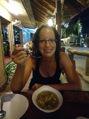 Me eating one of the many green curries!!