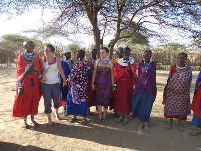 Me and Michelle dancing with the maasai ladies!