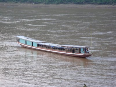 Amazing boat parking on the Mekong