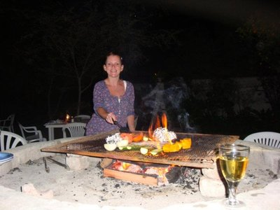 My chef on our Braai (bbq)
