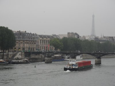 The Eiffel Tower emerging from the mist