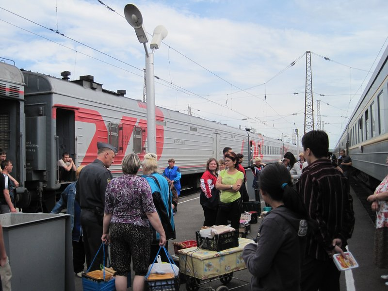Hawkers on the Train Platform, Siberia