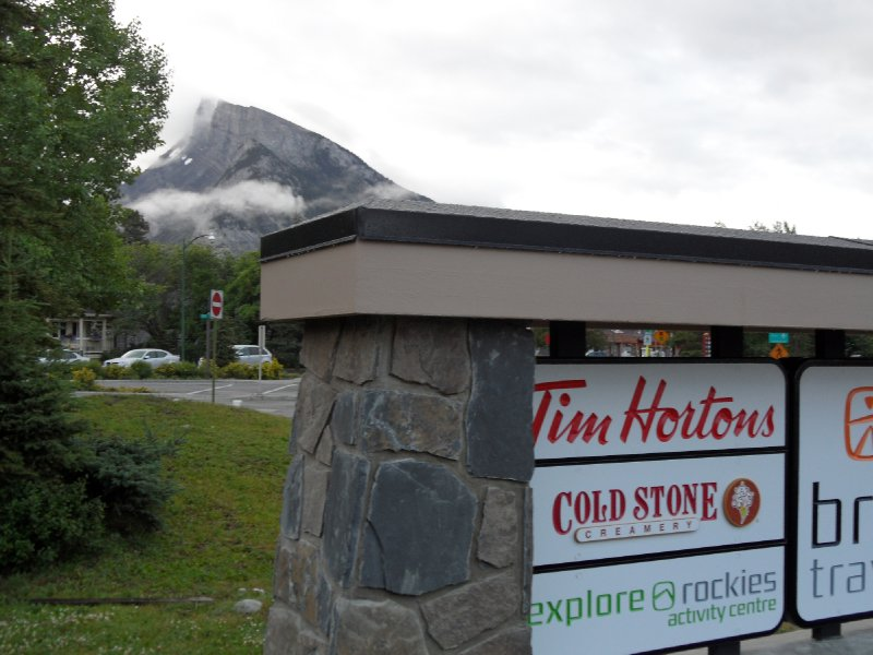Sign for Tim Hortons, Banff, Alberta