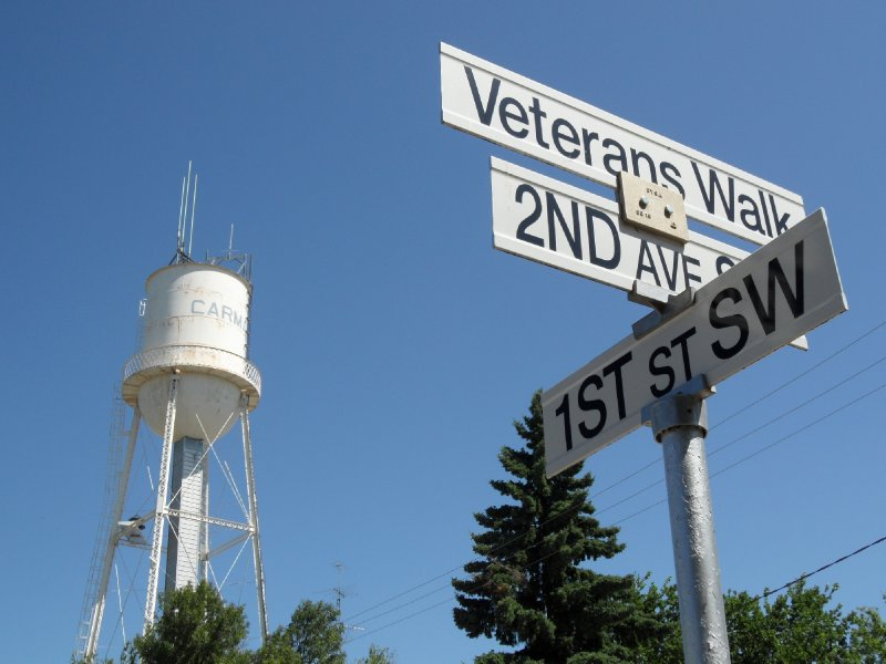 Street Sign and Water Tower, Carman, Manitoba