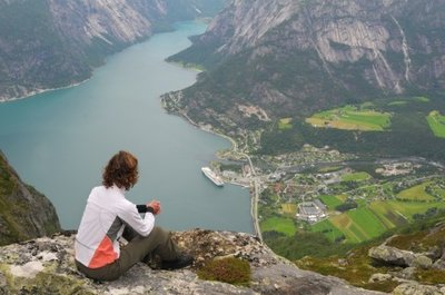 Looking down on the village of Eidfjord-photo courtesy Wikipedia