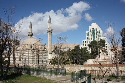 Vista of Damascus - Four Season Hotel (background) and Tekkiye Sulemaniya Mosque/Market (foreground)