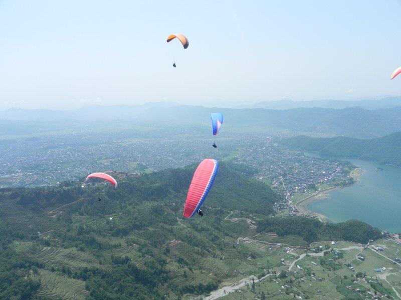 Paragliding over Pokhara and Fewa Lake