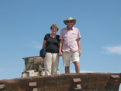 Martin and Jeanette on one of the derelict ships at Moynaq