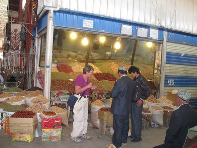 Looking at spices and nuts for sale in Kashgar