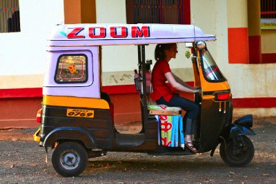 Driving a Rickshaw!