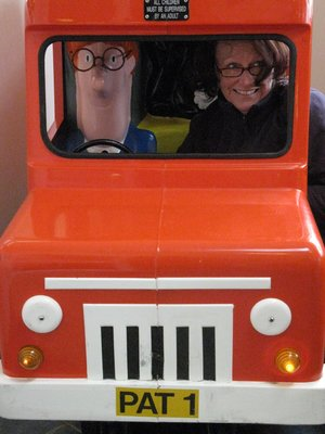 We sing' postman pat' driving around the skinny little welsh roads
