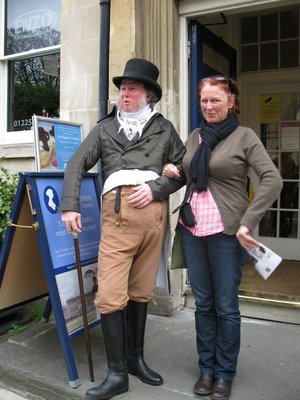 Mahony and her Mr Darcy at the Jane Austen Museum in Bath