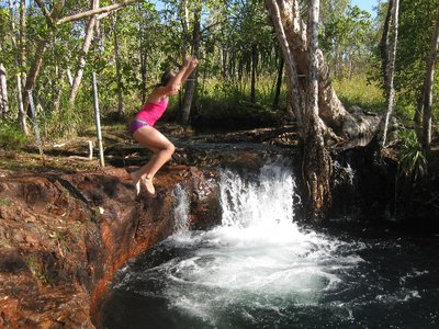Jumping into deep, fresh springwater at Buley Rockholes, Litchfield NP