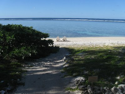 View from the verandah of our 'Reef Unit'. The beach was coral sand and chunks of old coral.