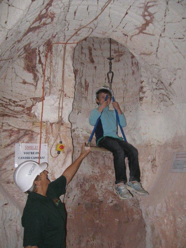 Going up an opal mine shaft