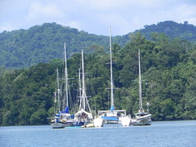 A raft of 4 in Rio Dulce