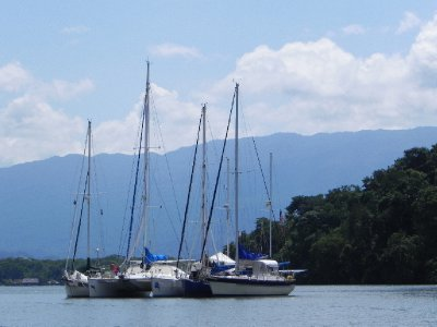 At anchor in Rio Dulce near Texan Bay