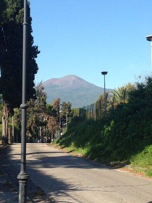 Mt Vesuvius looming over Pompeii