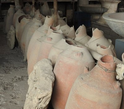 Amphoras in the storage area