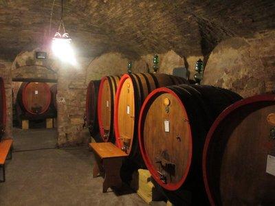 Inside cellar at Cantina Crociani