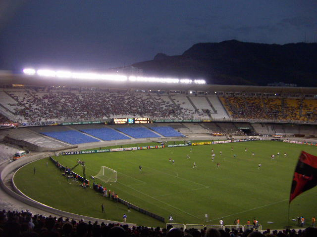 Floodlights at dusk, Maracana Stadium, Rio