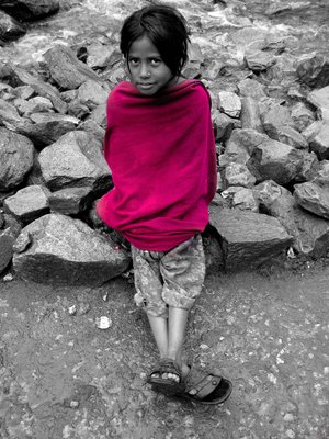 A indian girl in pink shawl