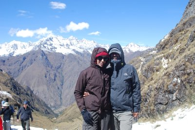 Am and Ajay at Warmiwanusca (Dead Woman's Pass)