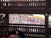 Stealing a glimpse of the palio in Piazza del Campo
