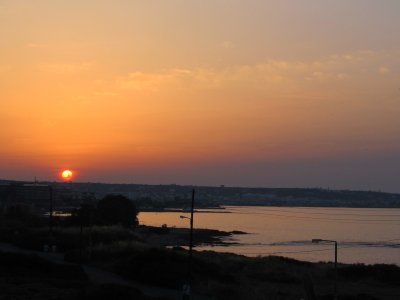A lovely sunset over Iraklio from our balcony
