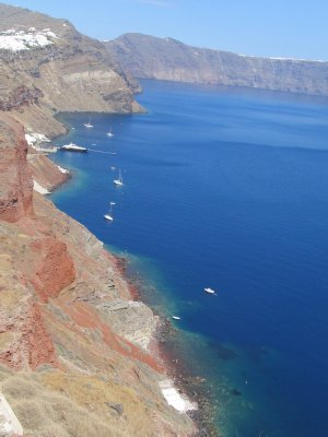 Cliffs in Oia, I love the different layers of sediment