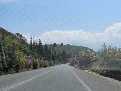 Driving through island of Crete. Much more green than we expected.