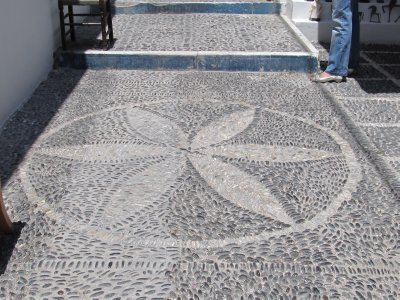 Everyone uses local stones for sidewalk mosaics