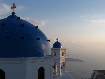 Famous blue domed church on Santorini