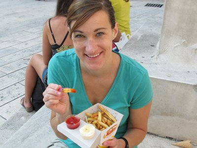Fries and a tiny fork