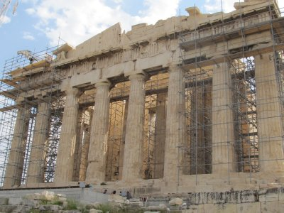 Front of Parthenon, under construction