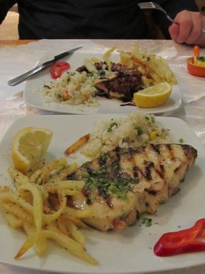 Grilled Octopus & Swordfish, served with fries of course like everything else here
