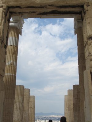 Lots of columns and clouds at the Acropolis