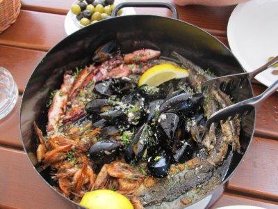 Mussels, shrimp, mackerel, sardines, baby octopus and squid