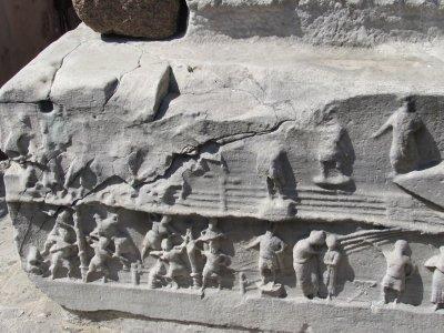Story of construction on base of obelisk