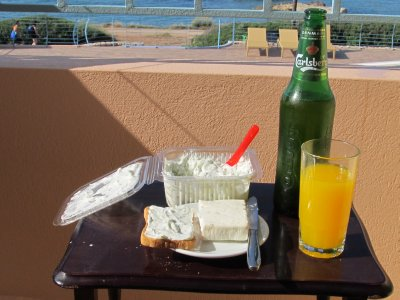 Tzaziki & Feta Happy Hour on the patio of our hotel
