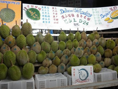 Durian, Asia's notorious stinky fruit, OK... They smell like unwashed feet but taste good