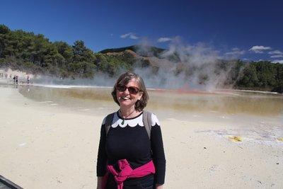 Christine at the thermal pools of Wai o Tapu, Rotaroa