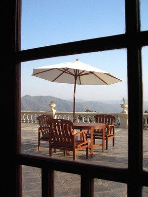 ...table outside...