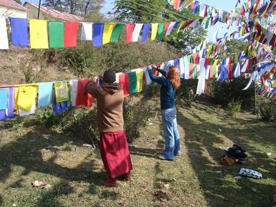 Prayer flag puja!