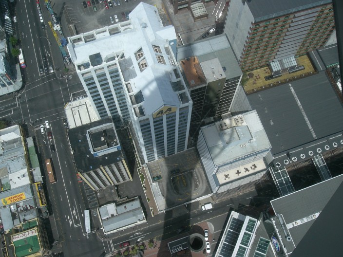 Sky tower's shaddow, auckland