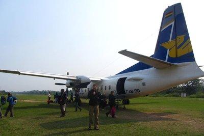 Ons vliegtuig van La Paz naar Rurrenabaque: goede landing!