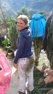 Veerle haar poep na de mountainbikeafdaling. Het is trouwens modder, :-) Zo eng was de afdaling nu ook niet!